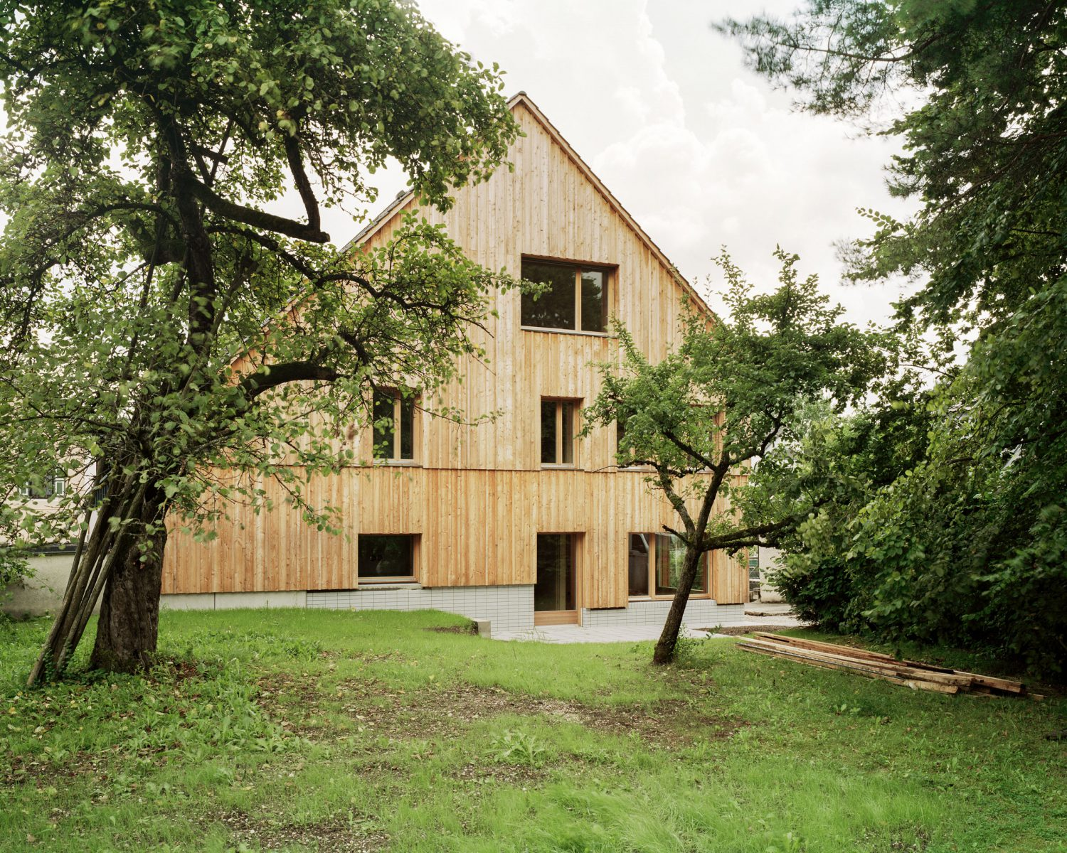 wooden house with sloping roof