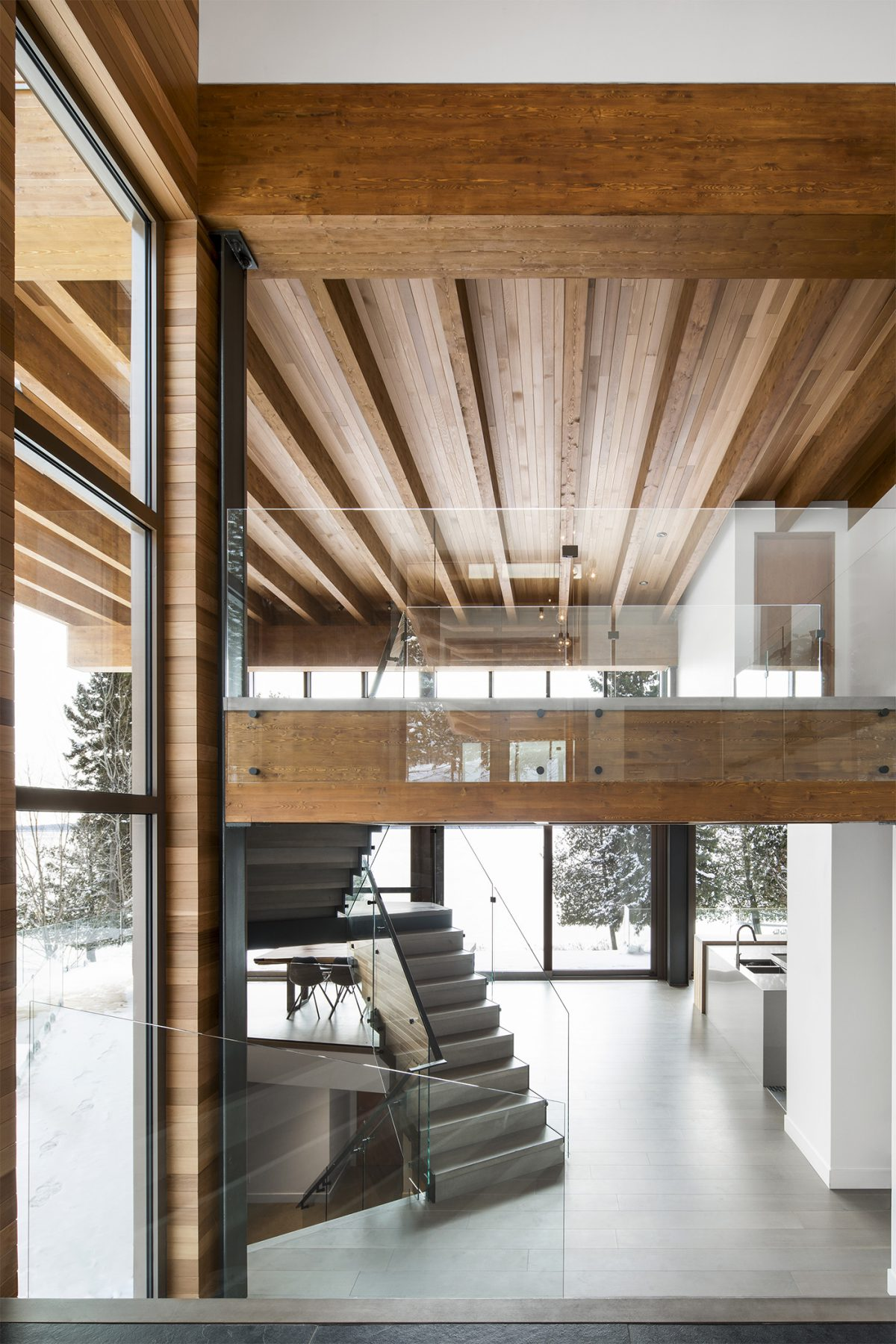 Cabin with double height space