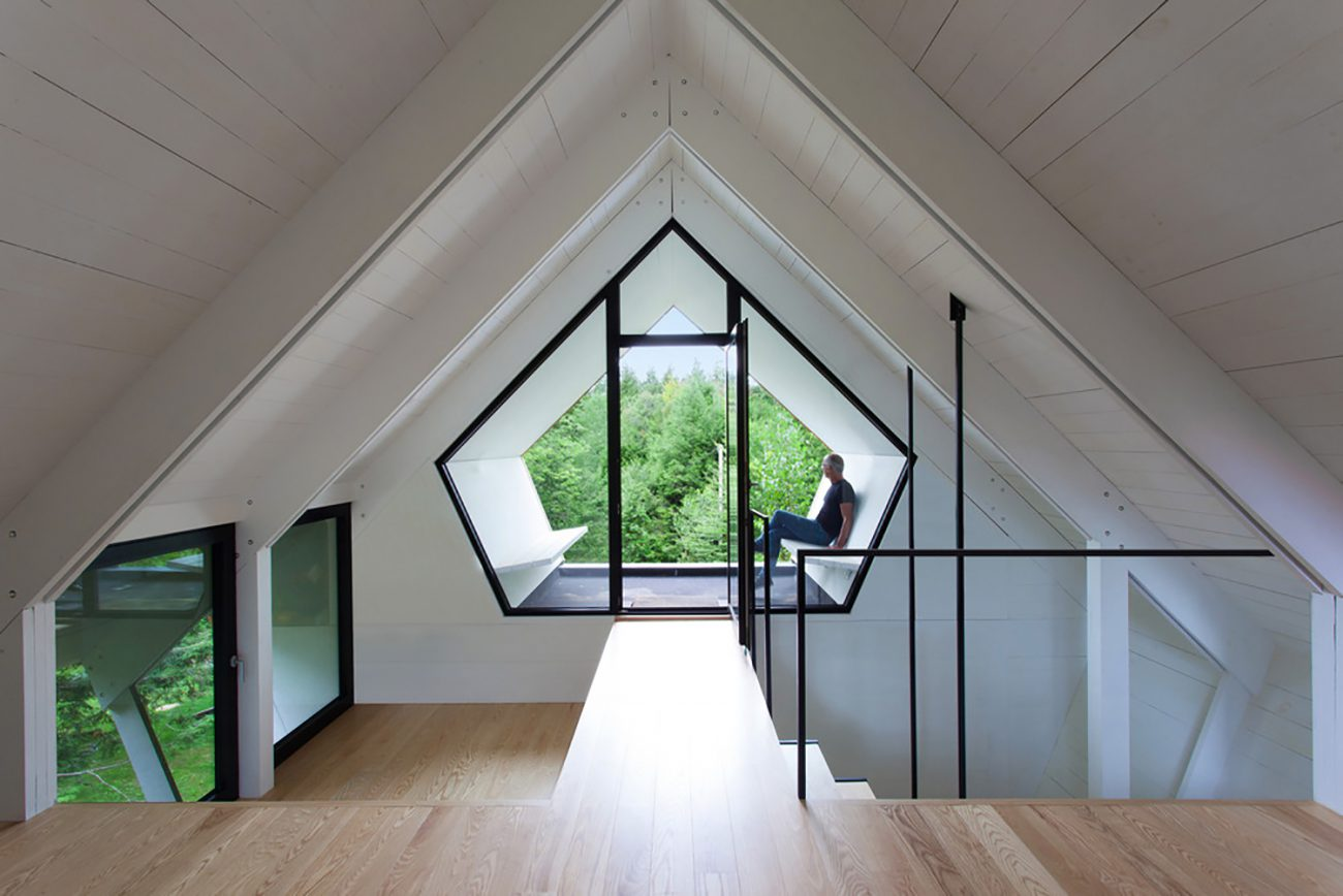 attic with two sloping roof