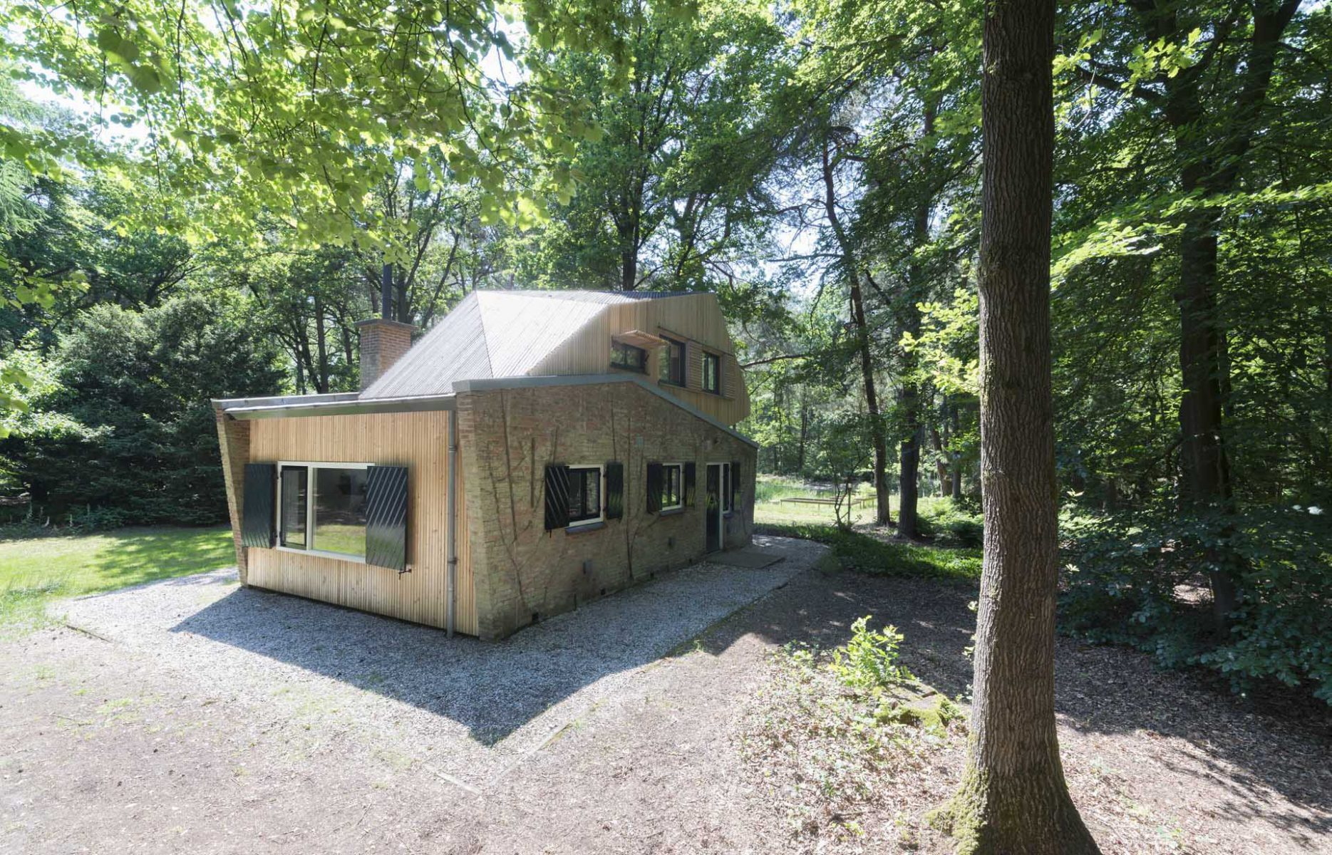 Extension wooden house in the forest