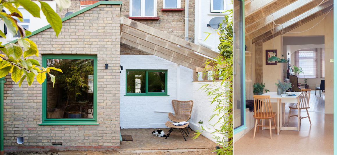 Wooden extension for a terraced house