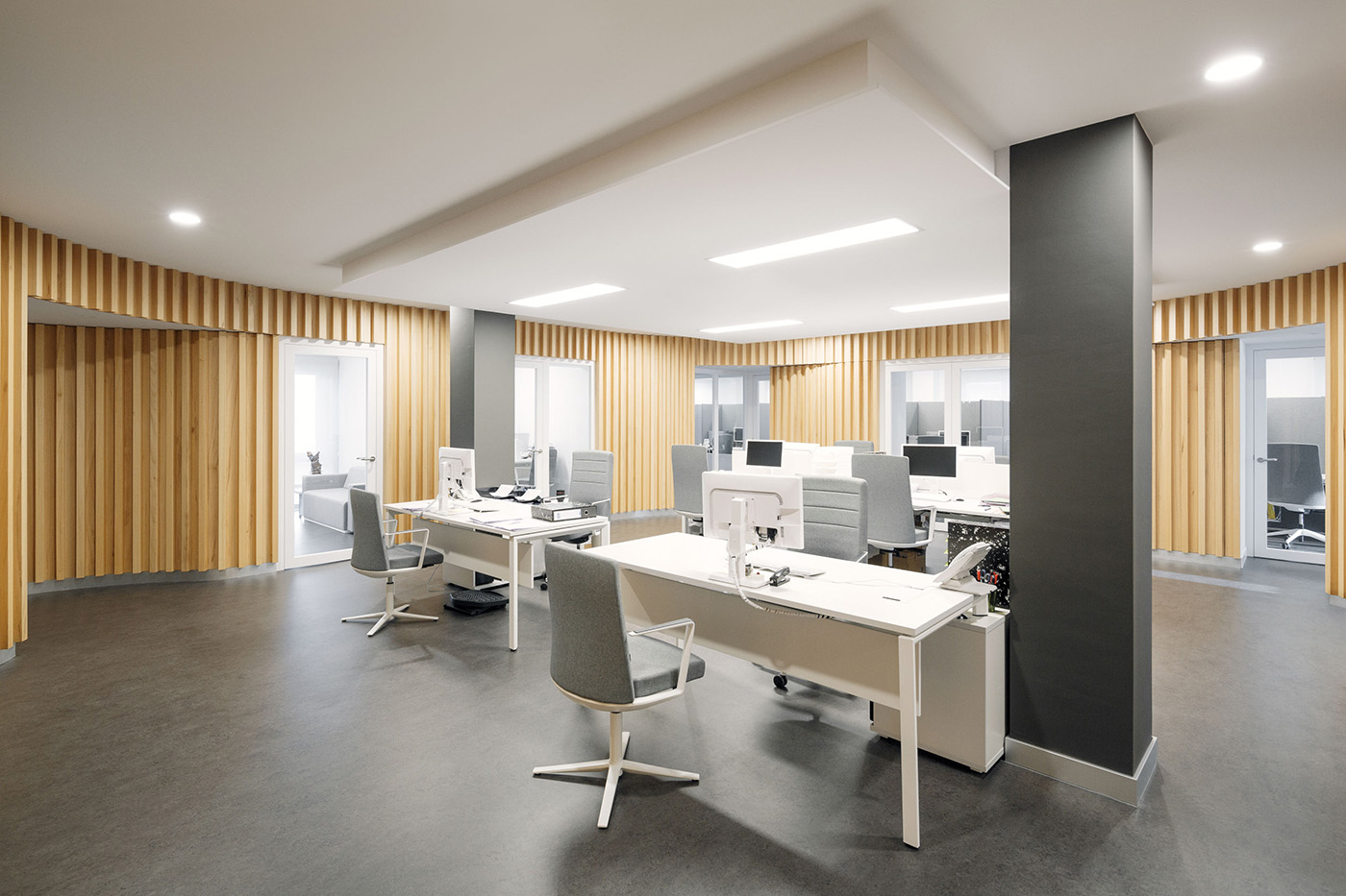 Office company with wooden walls
