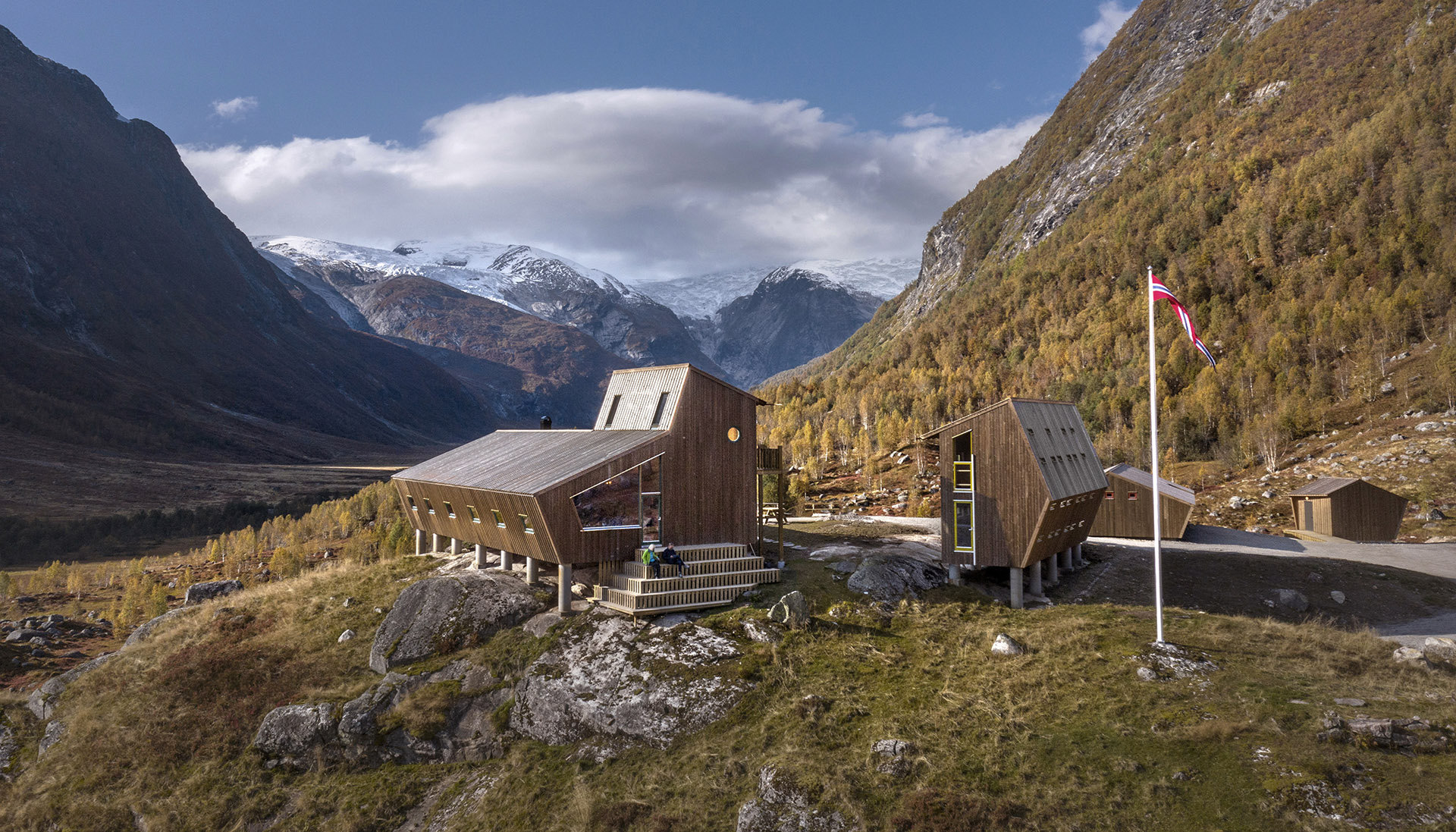 Group of wooden cabins in the mountains