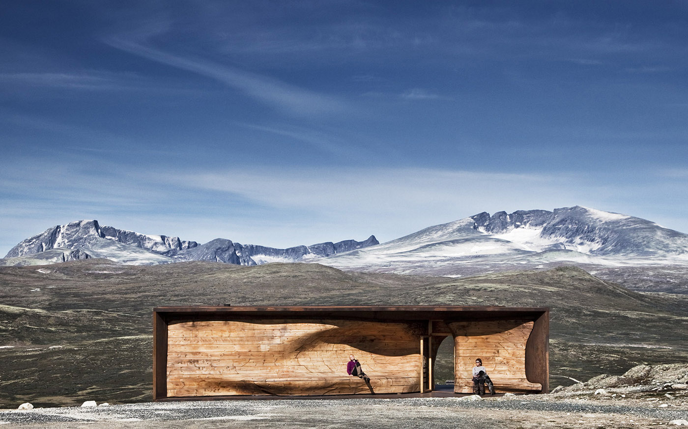 Wooden pavilion in the mountains