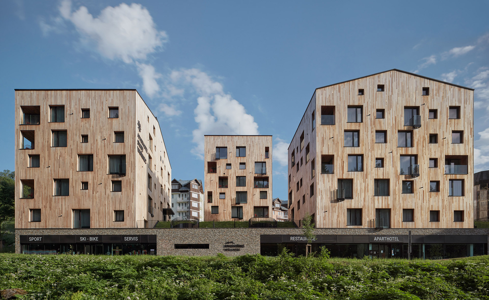 Residential complex covered in wood