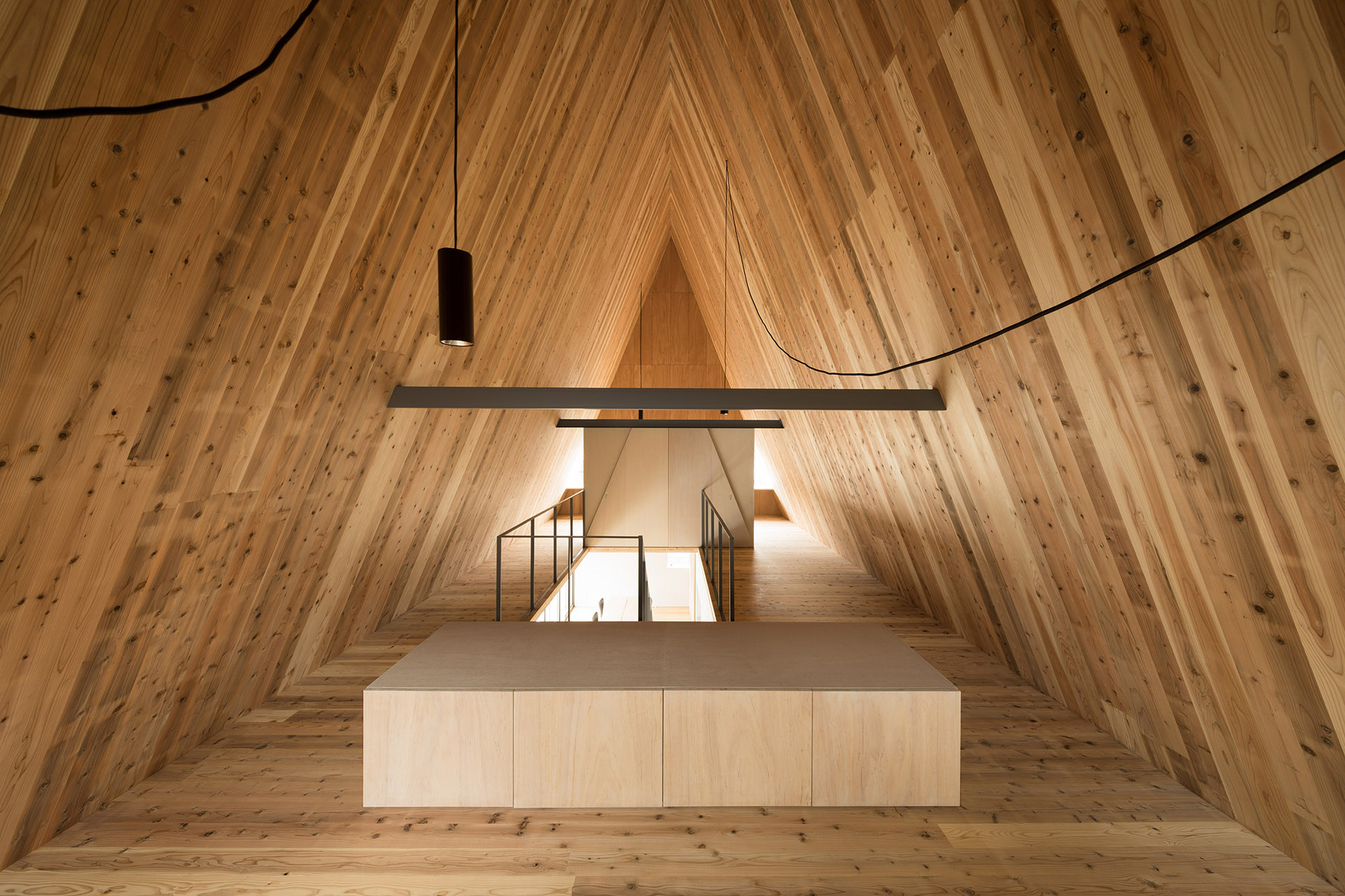 Penthouse in triangular wood