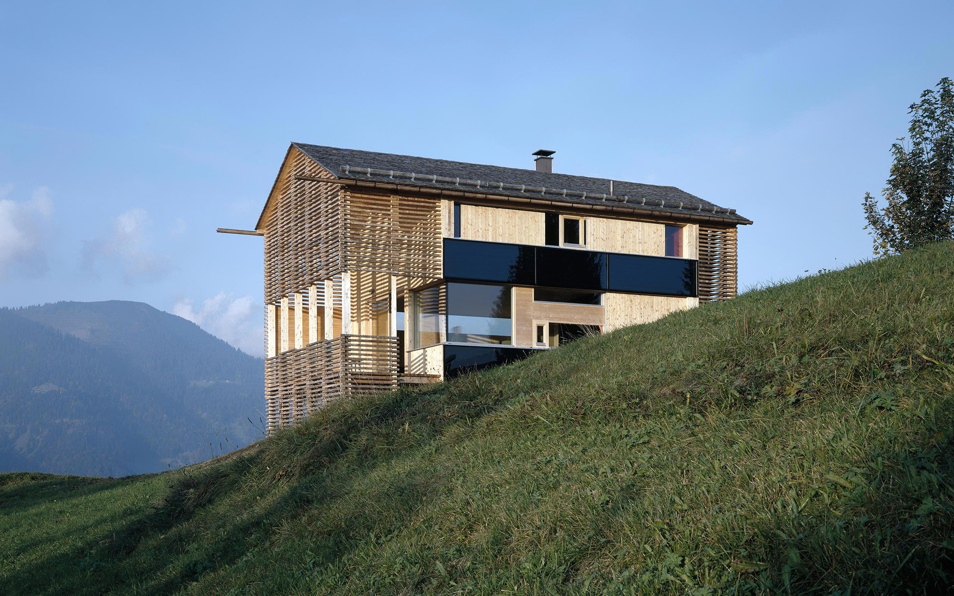 Mountain hut immersed in the alpine landscape