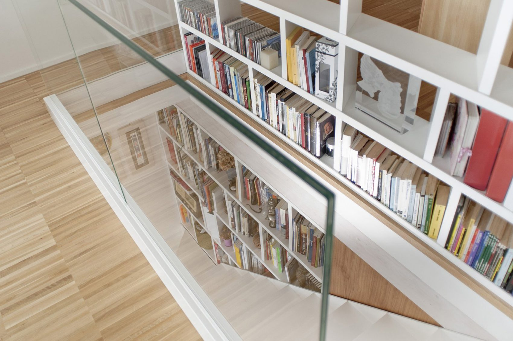 library glass balustrade parquet