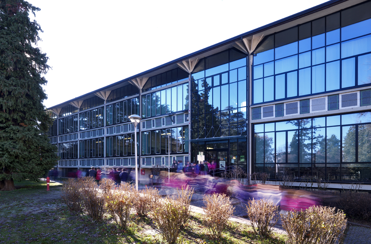 School with glass facade
