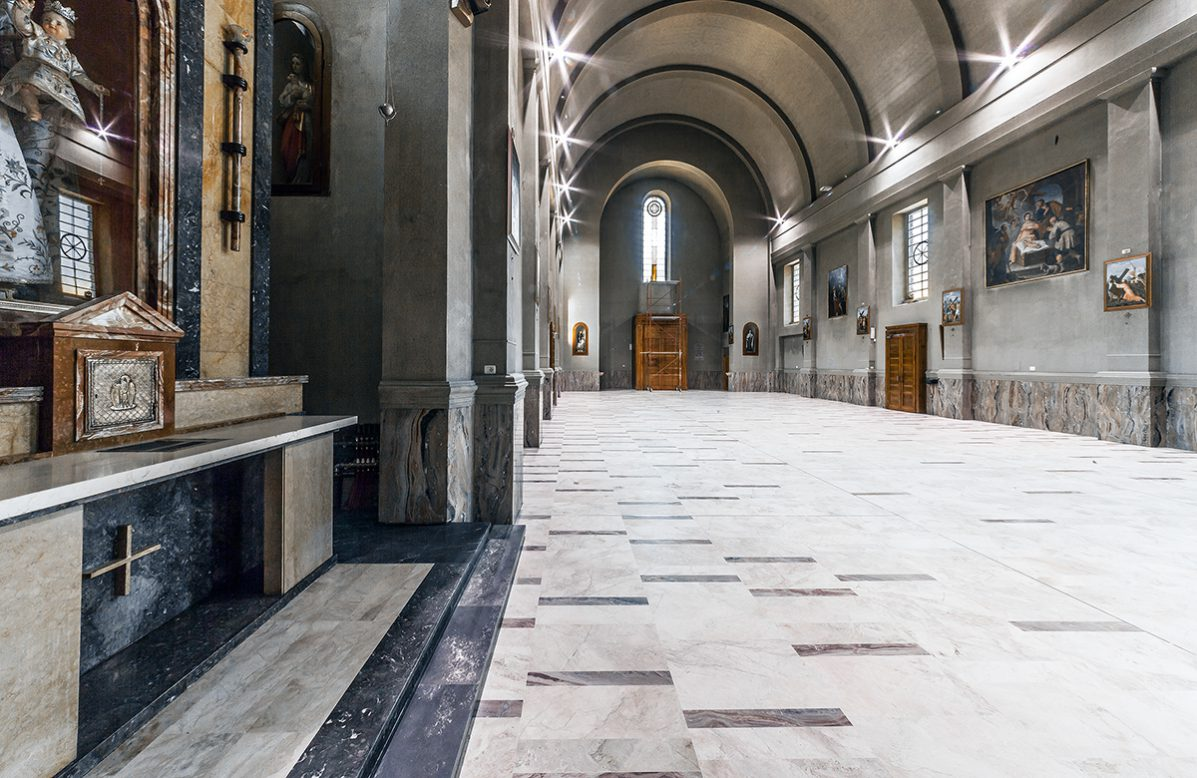 New paving for the church of Sant'antonio abate