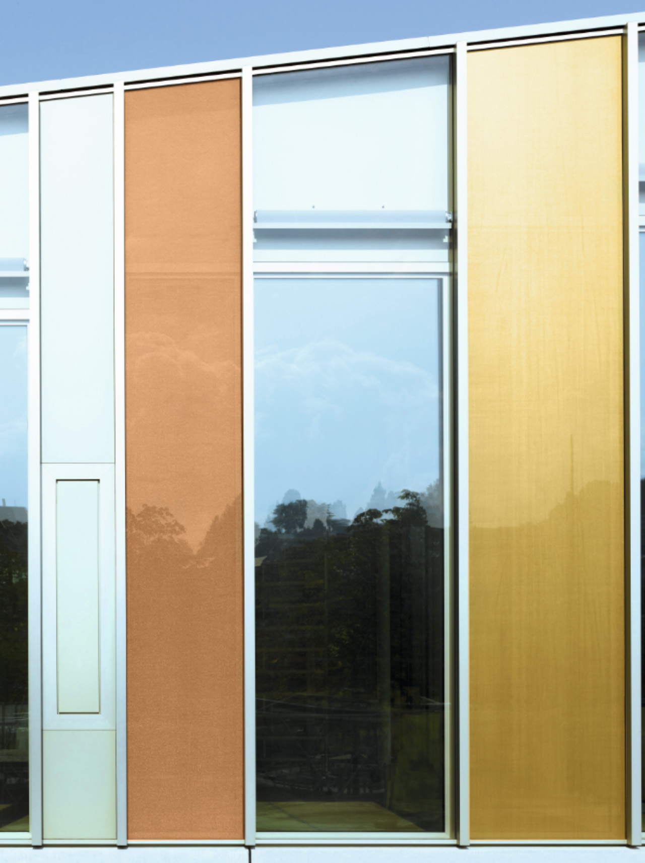 Full-height colored glass panels