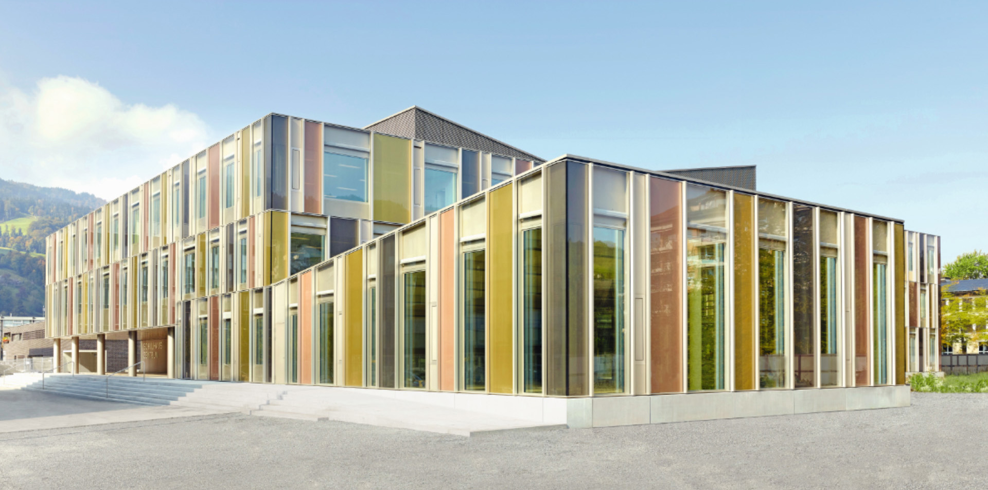 School with colored glass facades