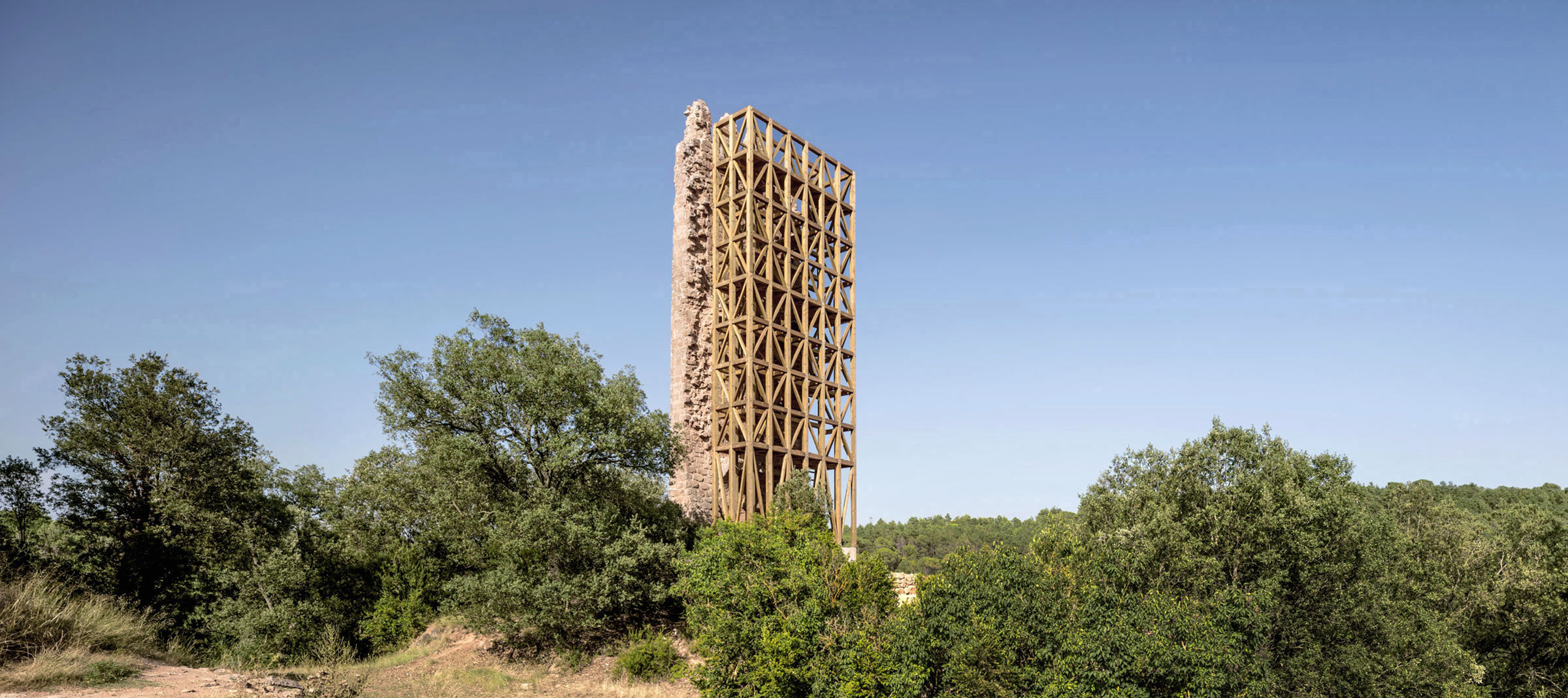 Wooden tower and trees