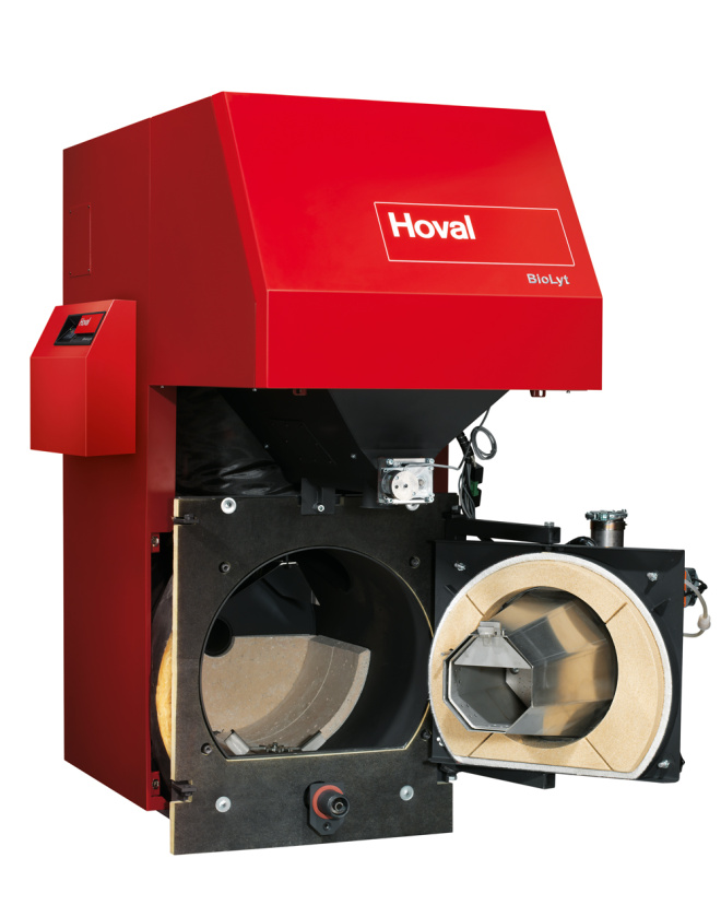 Internal view of the Hoval boiler