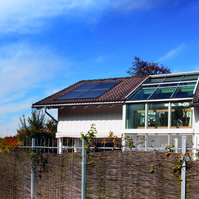Solar thermal collectors installed on the roof