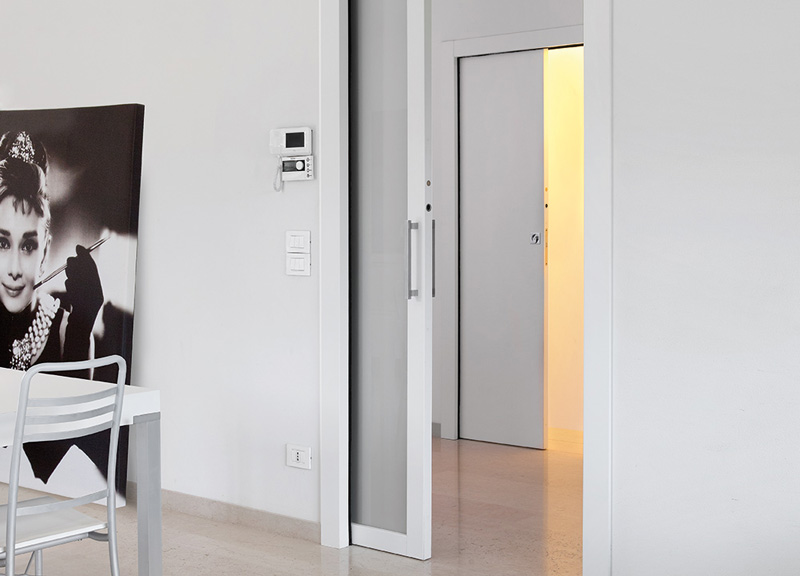 Door with counter frame prepared for light points