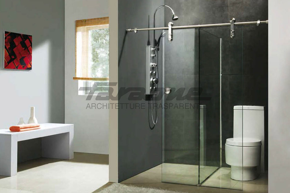 Transparent shower enclosure