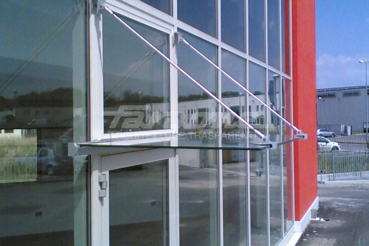 Faraone transparent glass shelter with tie rods