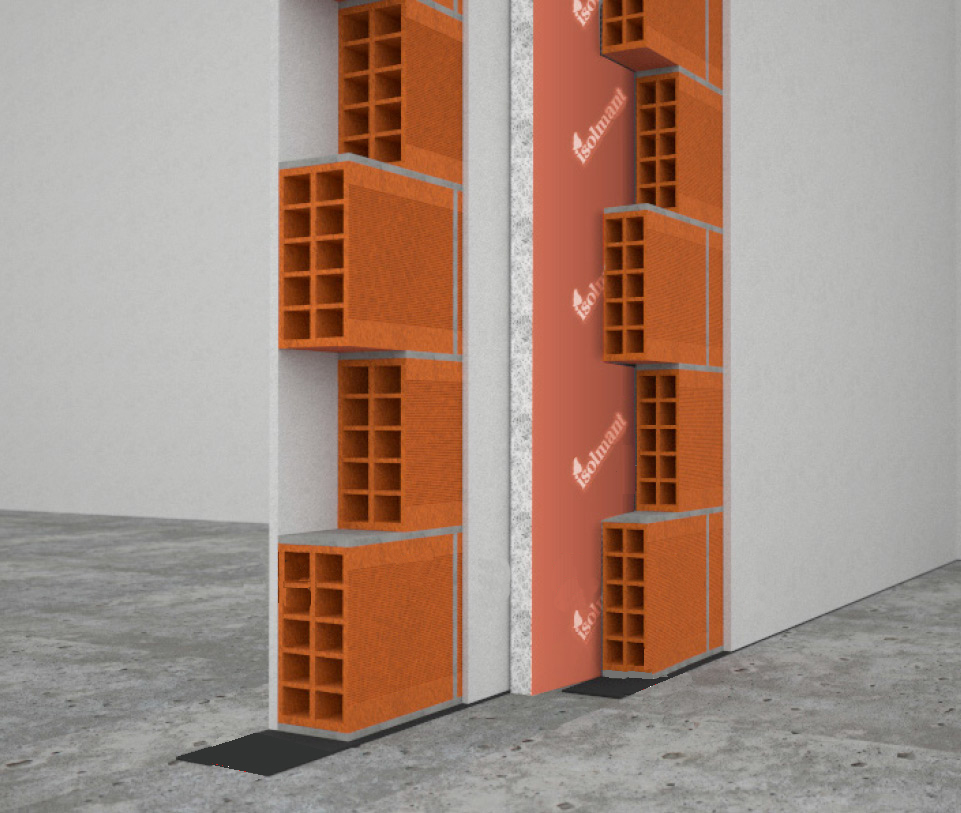Acoustic insulation for partition walls with cavity and Isolmant perforated brick