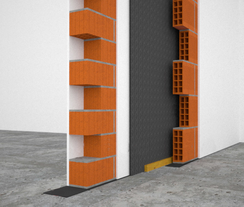 Acoustic insulation for partition walls with reduced thickness Isolmant cavity walls