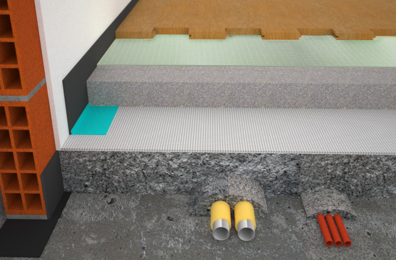 Render acoustically insulated radiant floor stratigraphy with Isolmant floor system