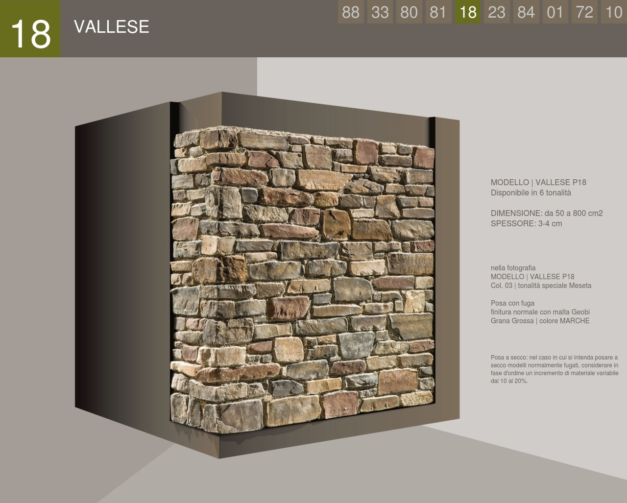 Wall cladding Stone Profile Vallese model
