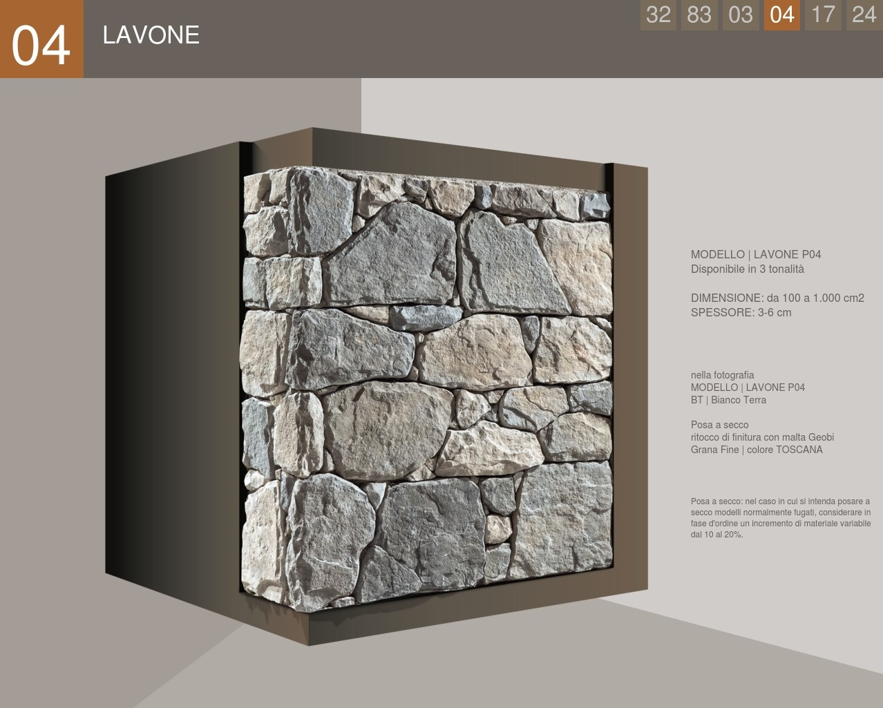 Stone cladding with an uncertain work profile, model Lavone