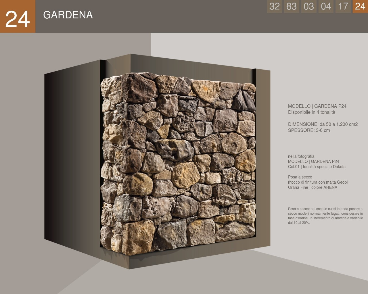 Stone covering with an uncertain profile of the Gardena model