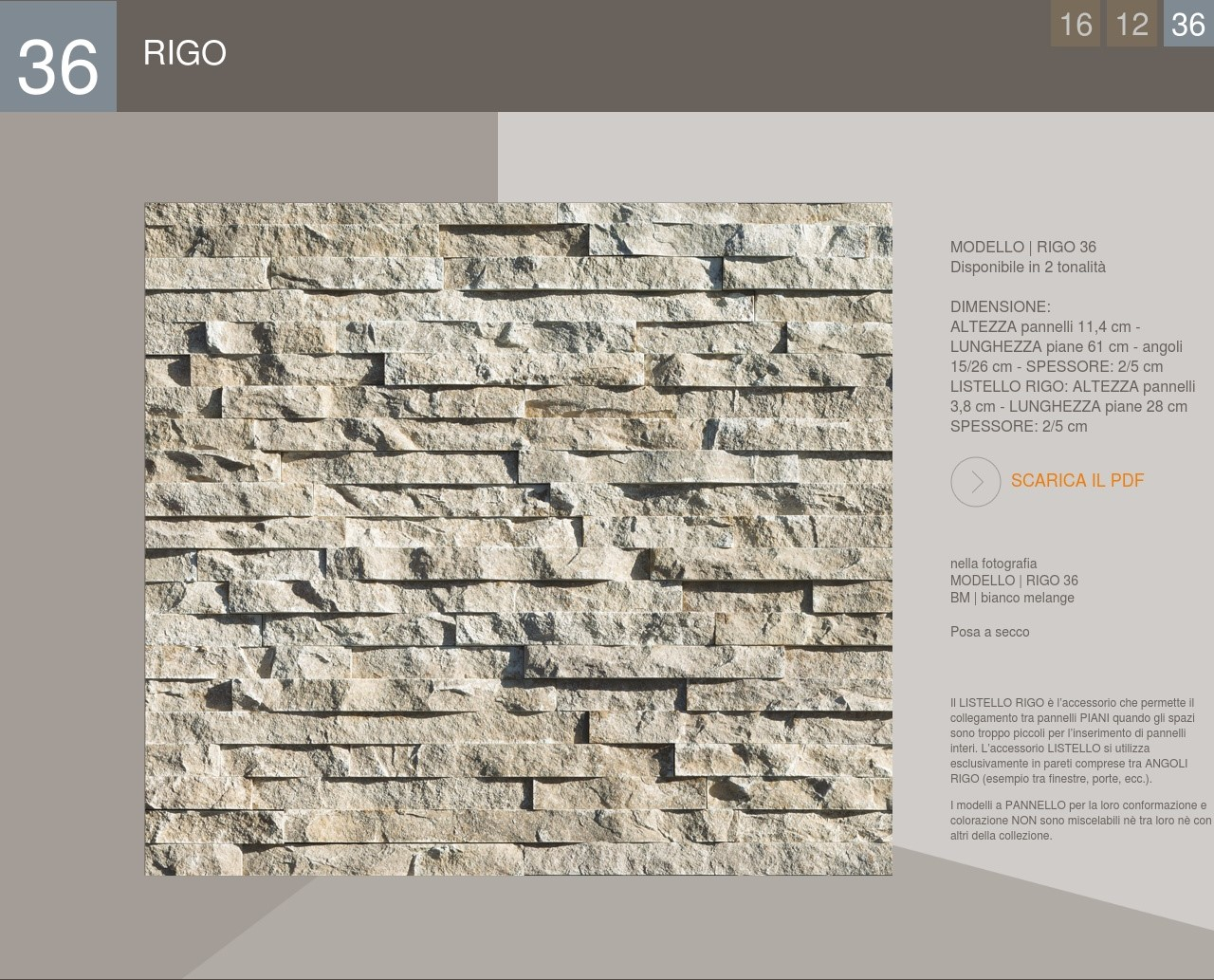 Stone Cladding Profile Panel Rigo model