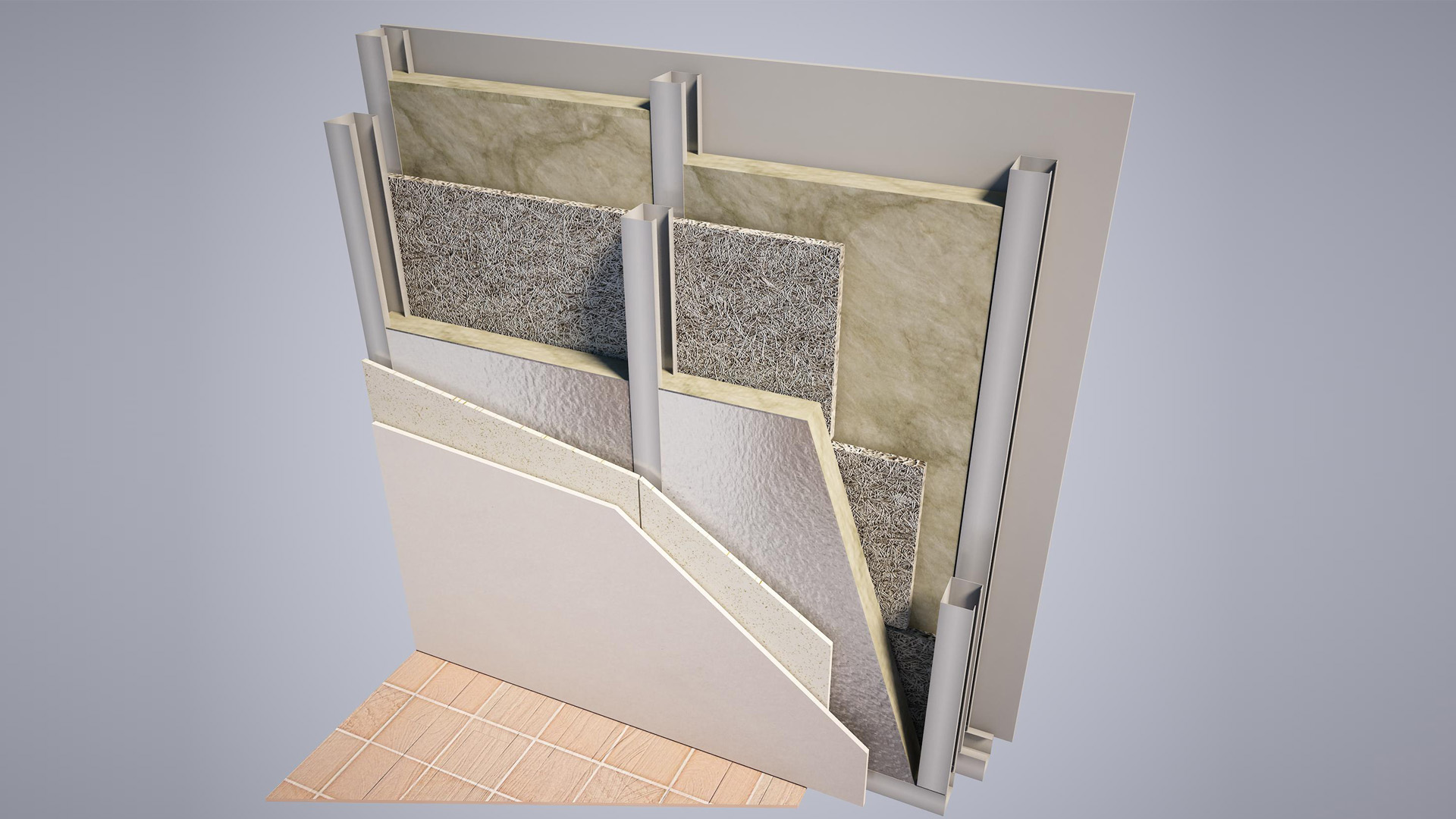 Insulated wall stratigraphy with URSA TERRA mineral wool panels