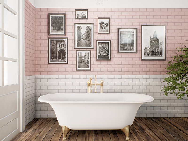 Matro pink tile old style bathroom