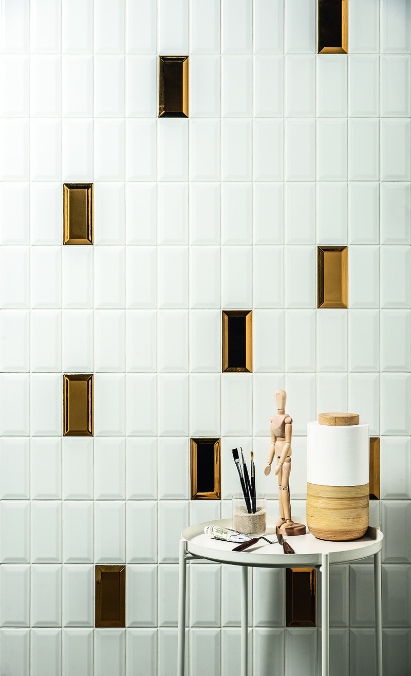 Tiles Metro color talc and gold