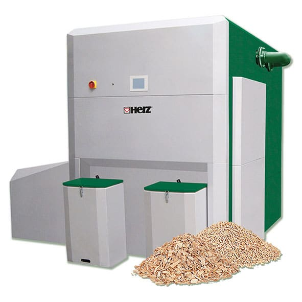 Compact and economical wood chip boiler