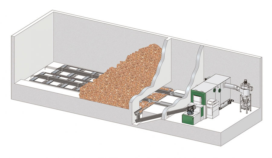 Loading and storage systems for wood chips or pellets