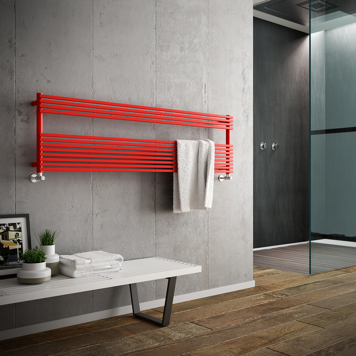 Towel Warmer red horizontal Katia