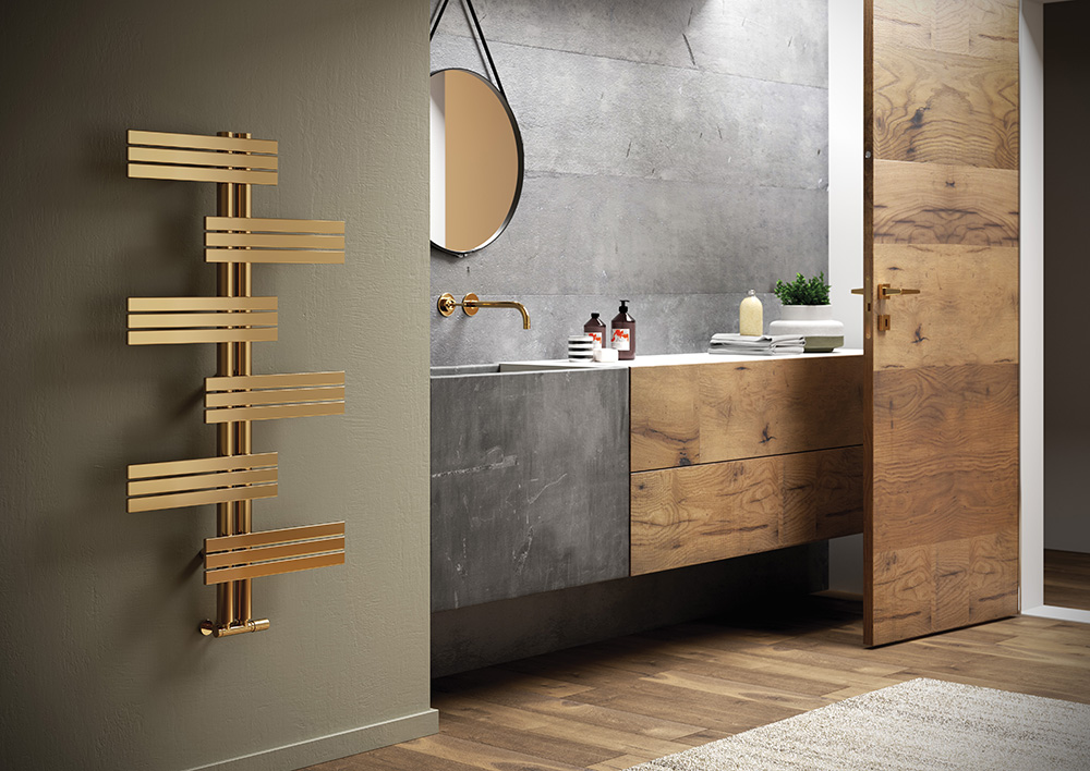 Gold radiators for bathrooms