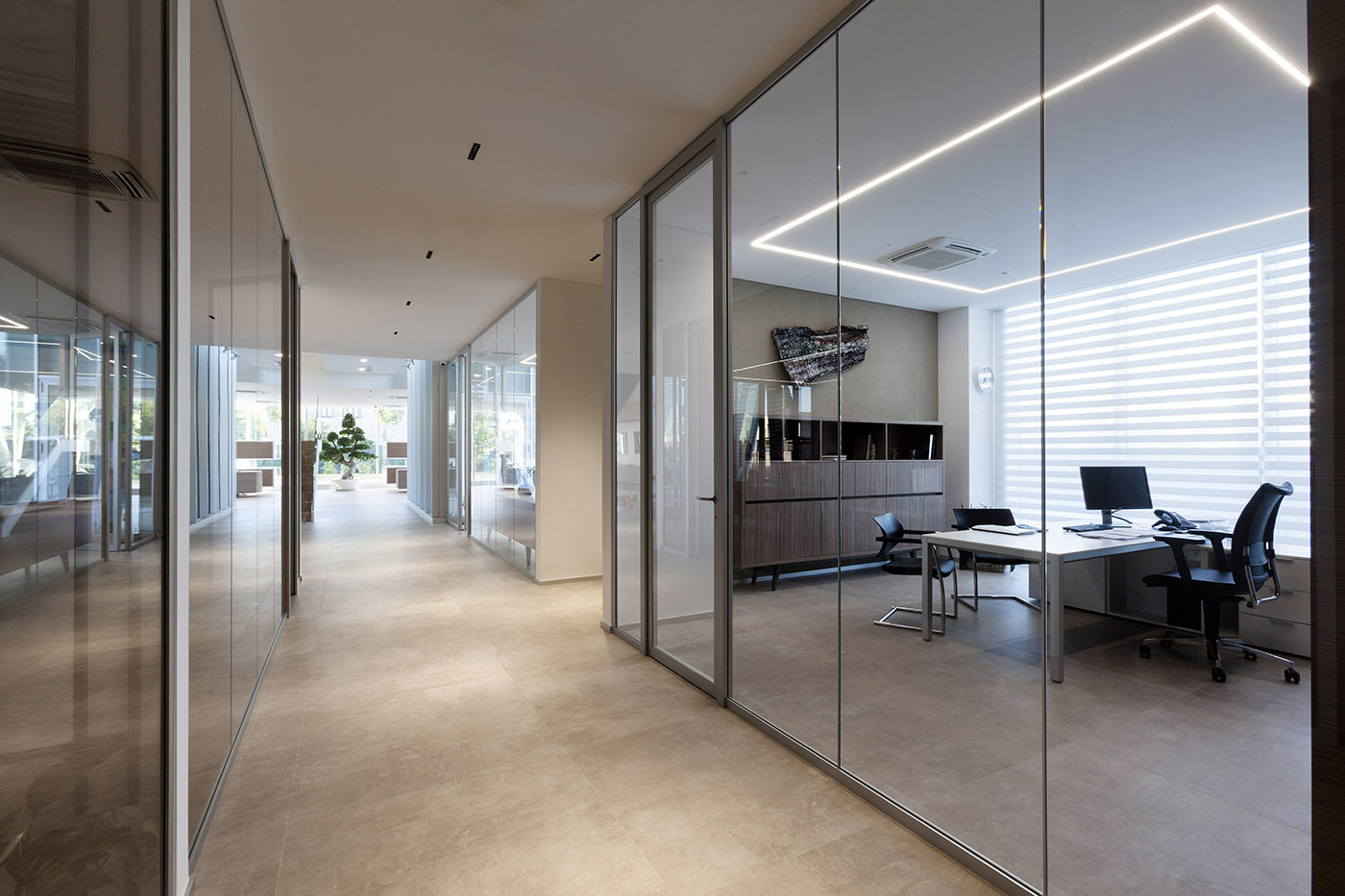Corporate headquarters offices and transparent walls