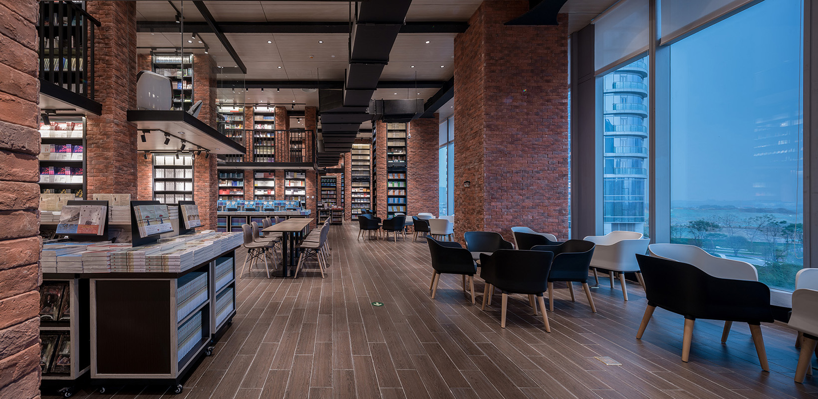 The reading room with red brick cladding
