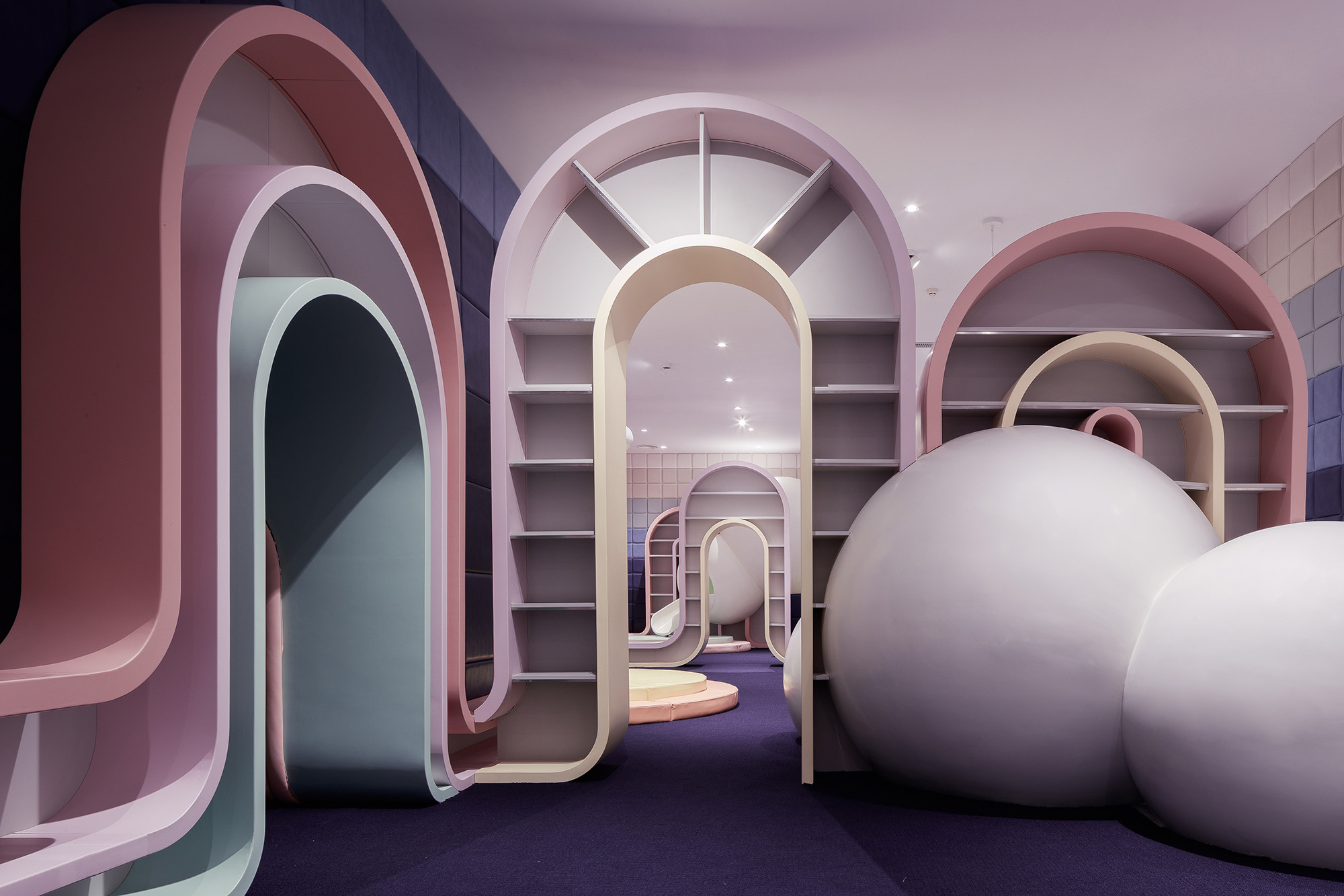 pastel colors and soft curves playground design