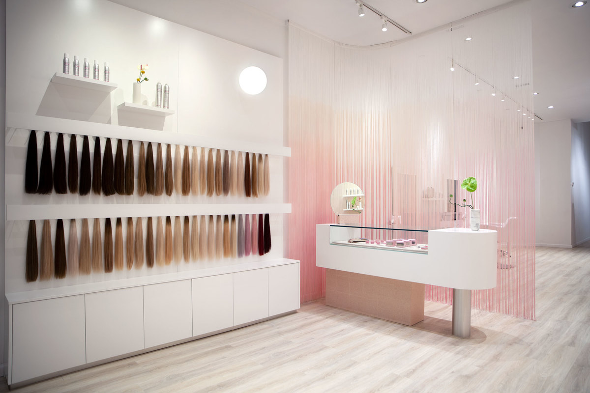 Shop with white and pink wood interior