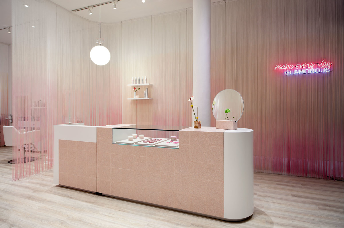 White and pink shop counter interior