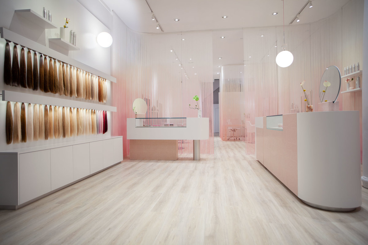 White and pink shop interior