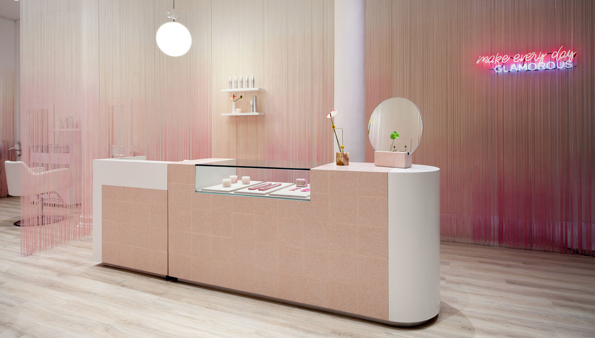 Shop with a white and pink interior