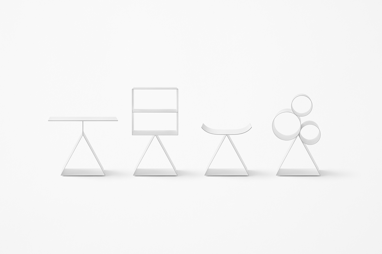 Minimal design objects inspired by Chinese pictograms