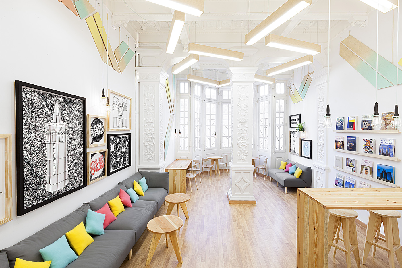 language school with a colorful interior