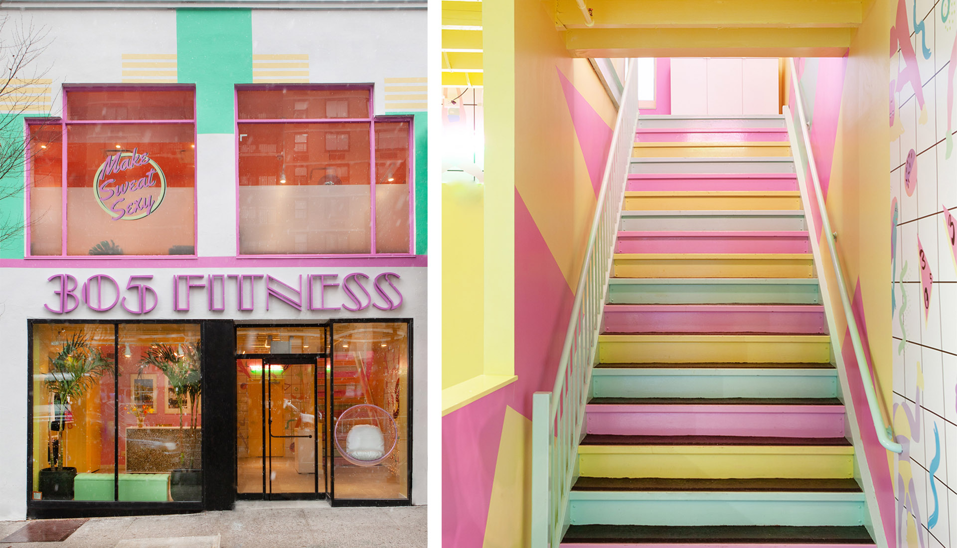 Sasha Bikof - 305 Fitness facade and staircase